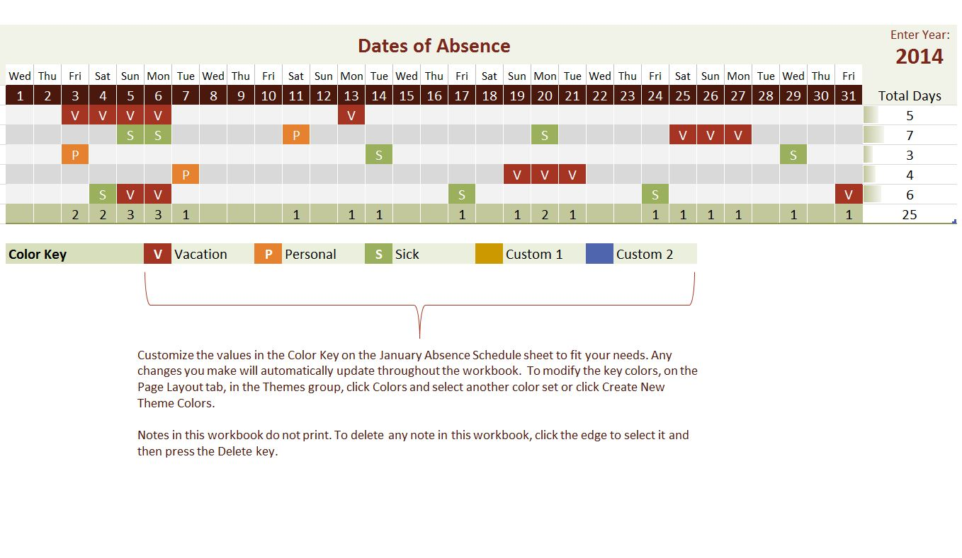 2014 Employee Vacation Tracking Calendar Template