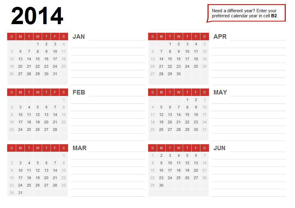 2015 Excel Calendar Template