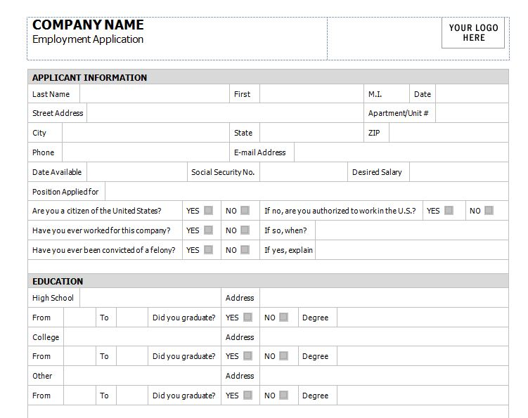 Application for Employment Template | Application for Employment