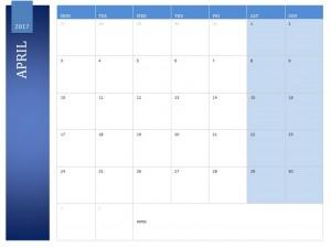 April 2017 Calendar Free