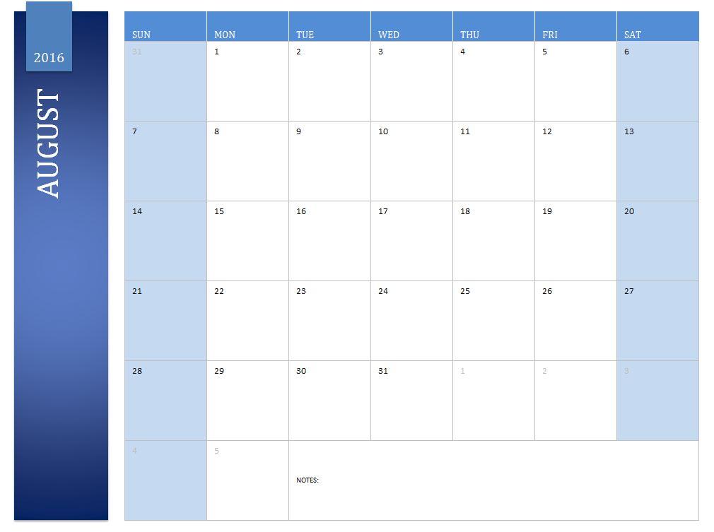 August 2016 Calendar | 2016 August Calendar