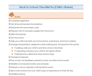 Free Back to School Checklist