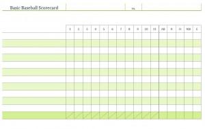 Baseball Scoring Sheet