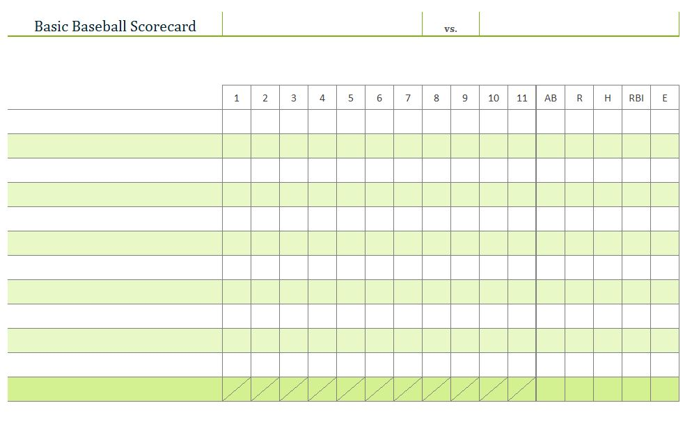 Baseball  Baseball Scorecards  Baseball Sheets