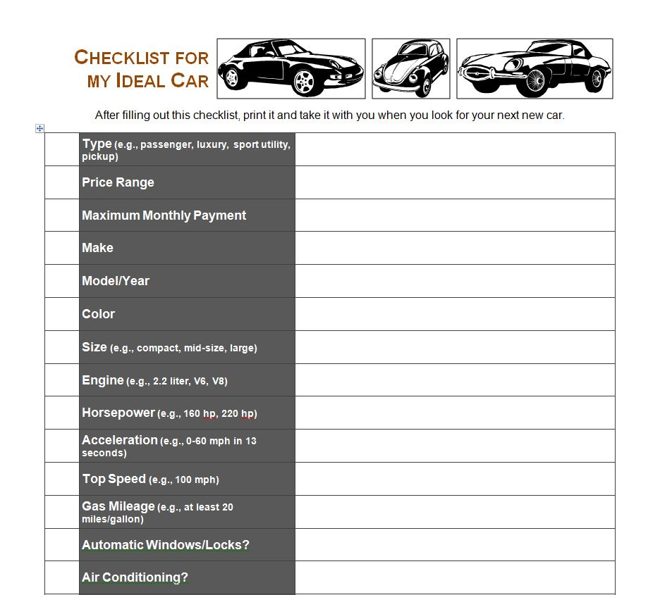 car buying checklist used car buying checklist