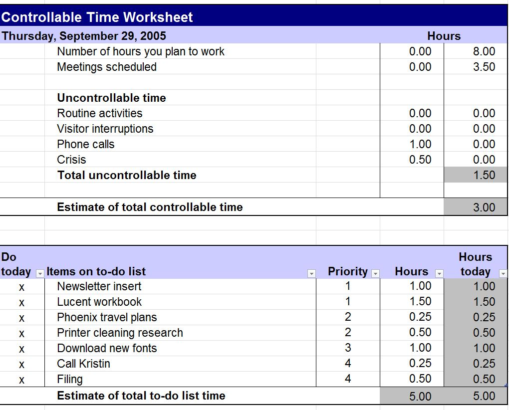 Controllable Time Worksheet