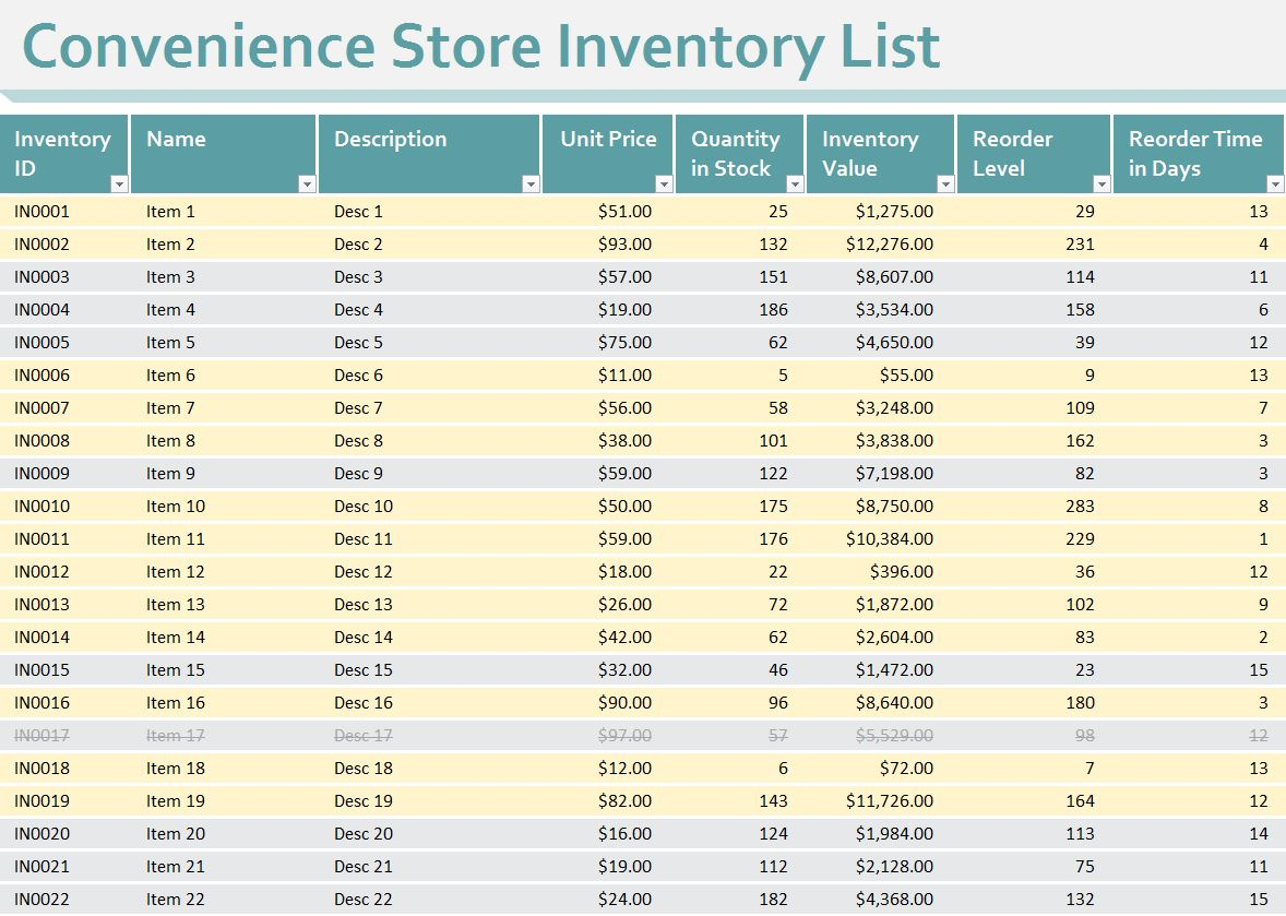 equipment inventory list template excel