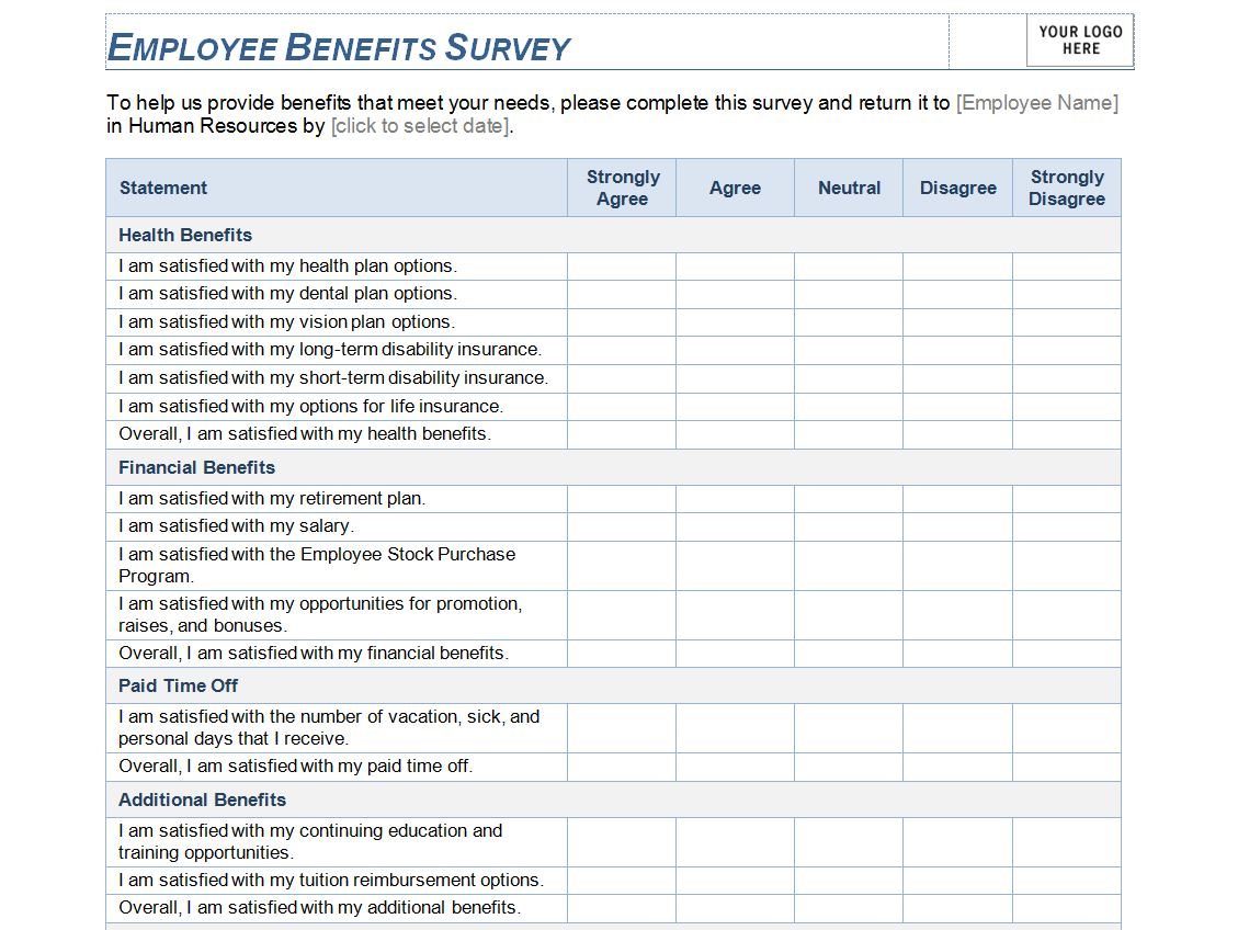 Calendar Organization Questionnaire : Employee benefits survey template