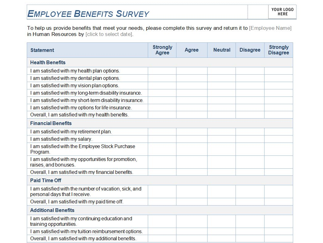 Employee Benefits Survey Employee Benefit Survey