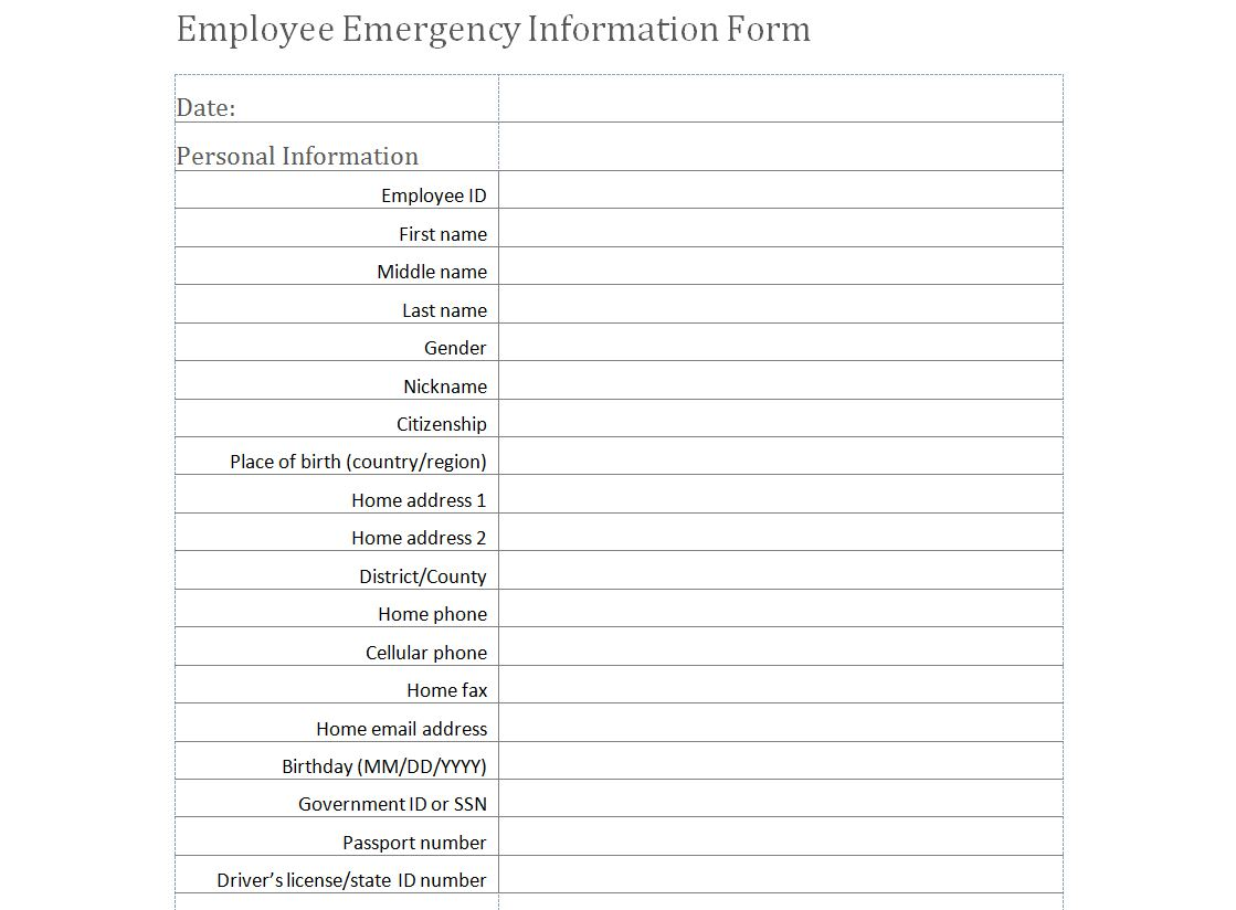 personal fact sheet template - employee emergency information form template