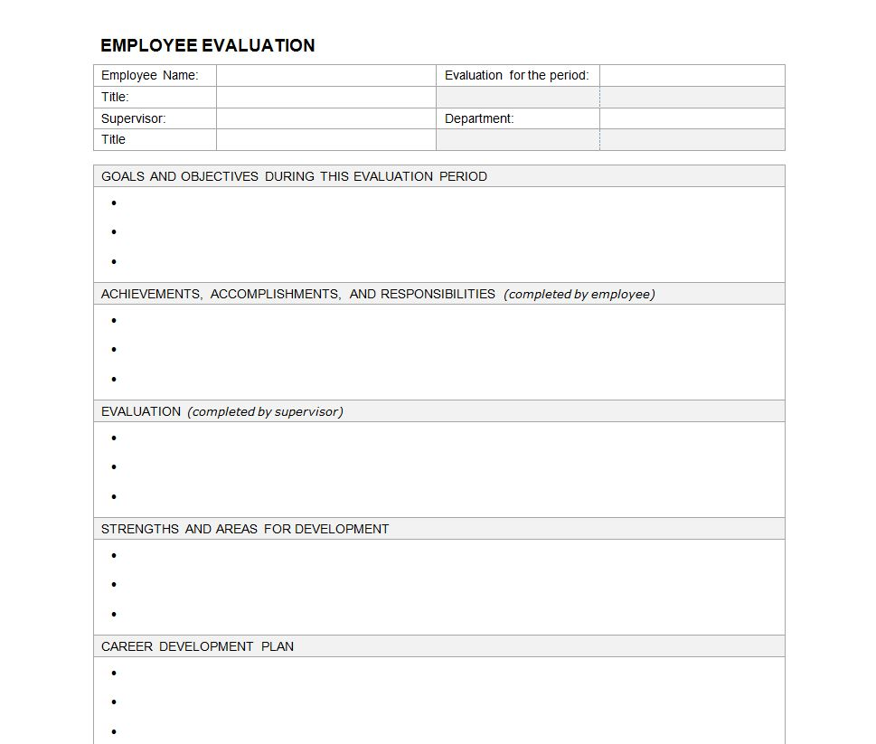 Employee evaluation form employee performance evaluation for Hr performance review template