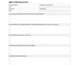 Free Employee Evaluation Template