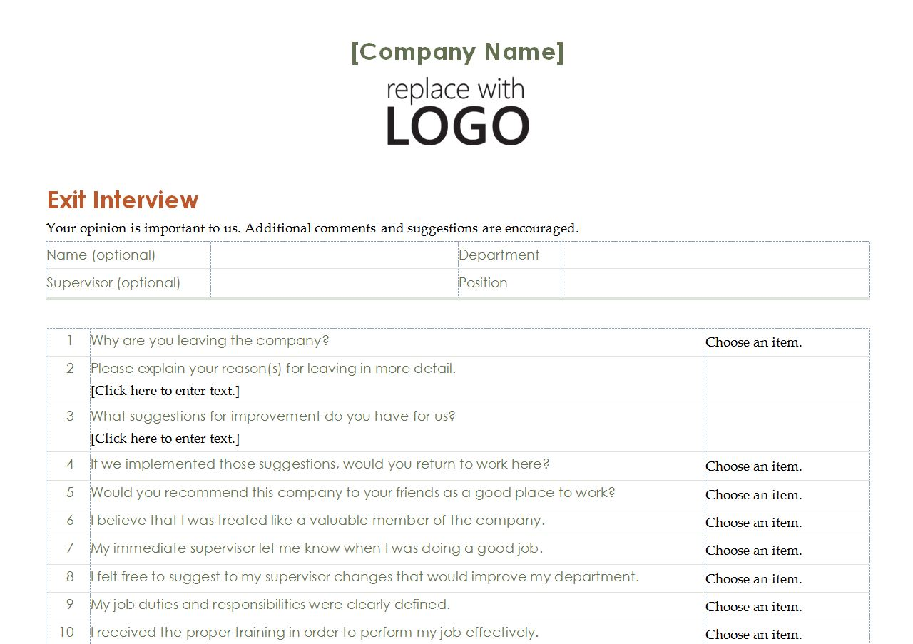 employee exit interview template free