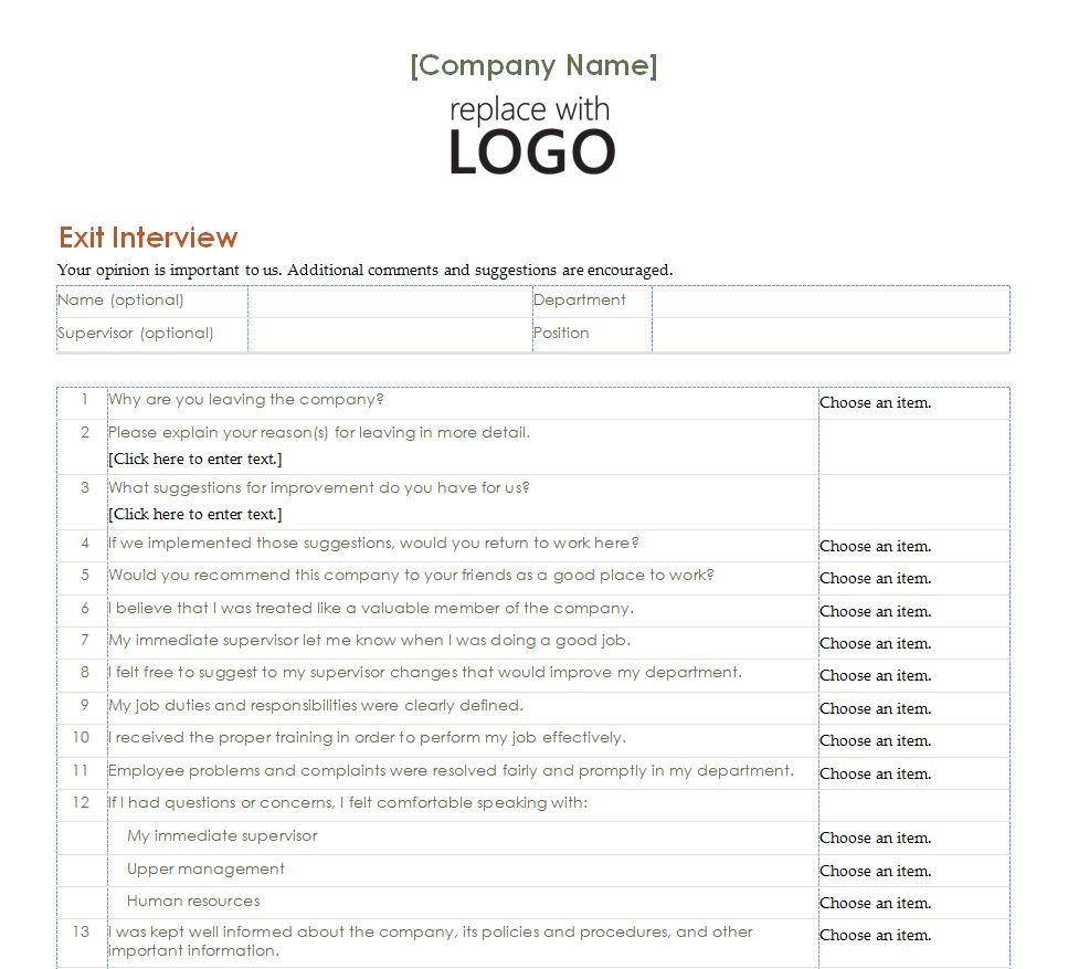 Employee exit interview employee exit interview form for Interview templates for employers