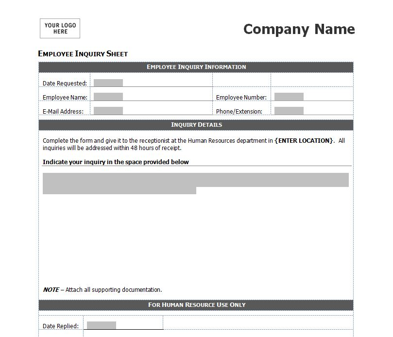 employee inquiry form