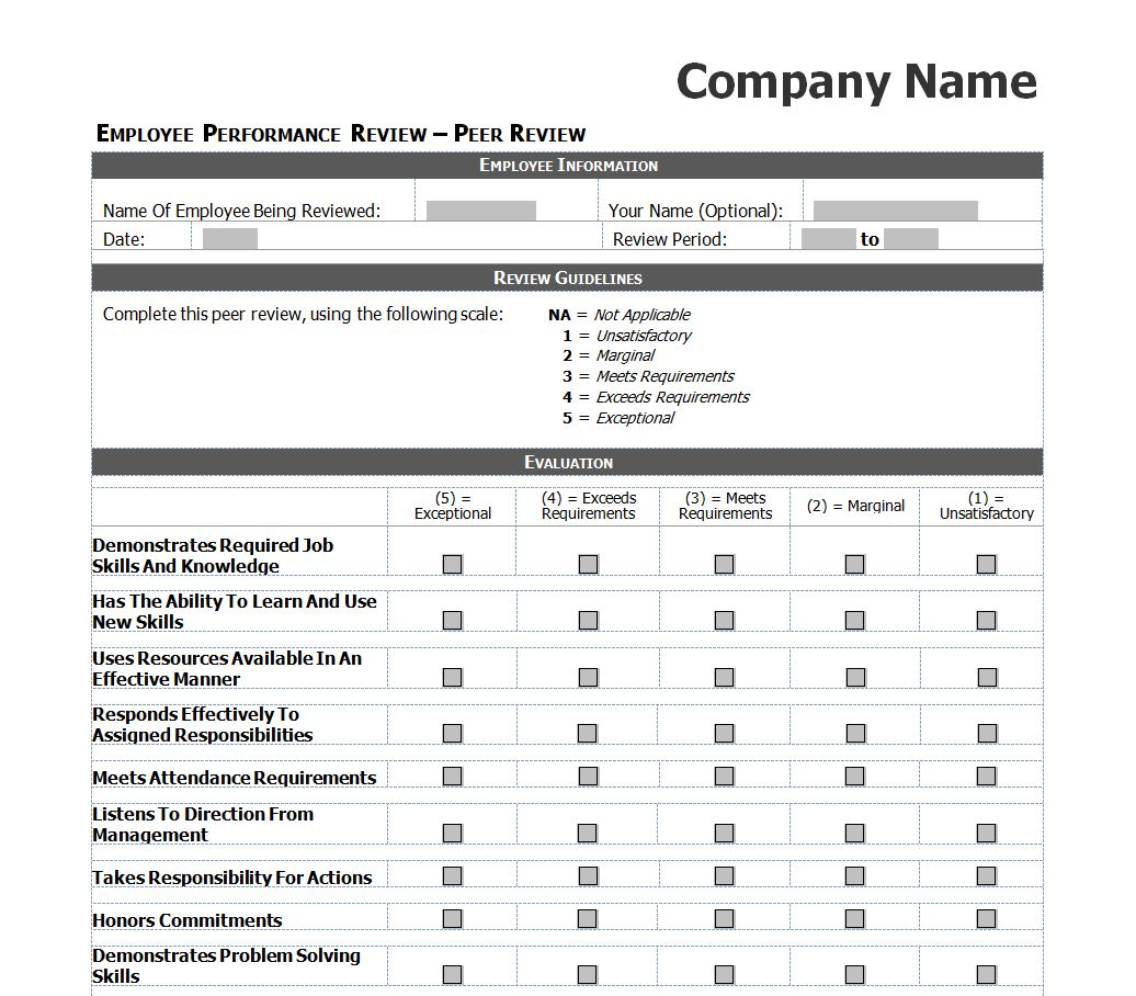 Employee performance review checklist for Hr performance review template