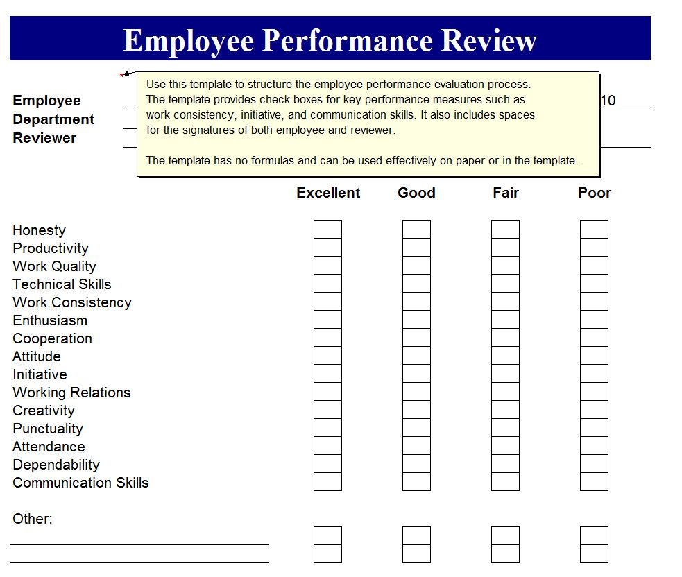 Employee Performance Review  Employee Perormance Review Form