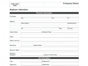 Free Employee Personal Information Form