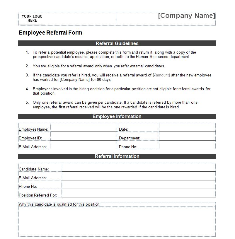 Employee Referral Form. Employee Referral Form A4 ~ Templates