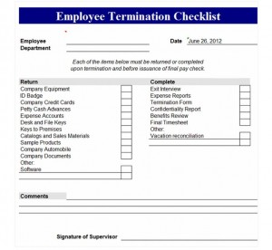 Free Employee Termination Checklist