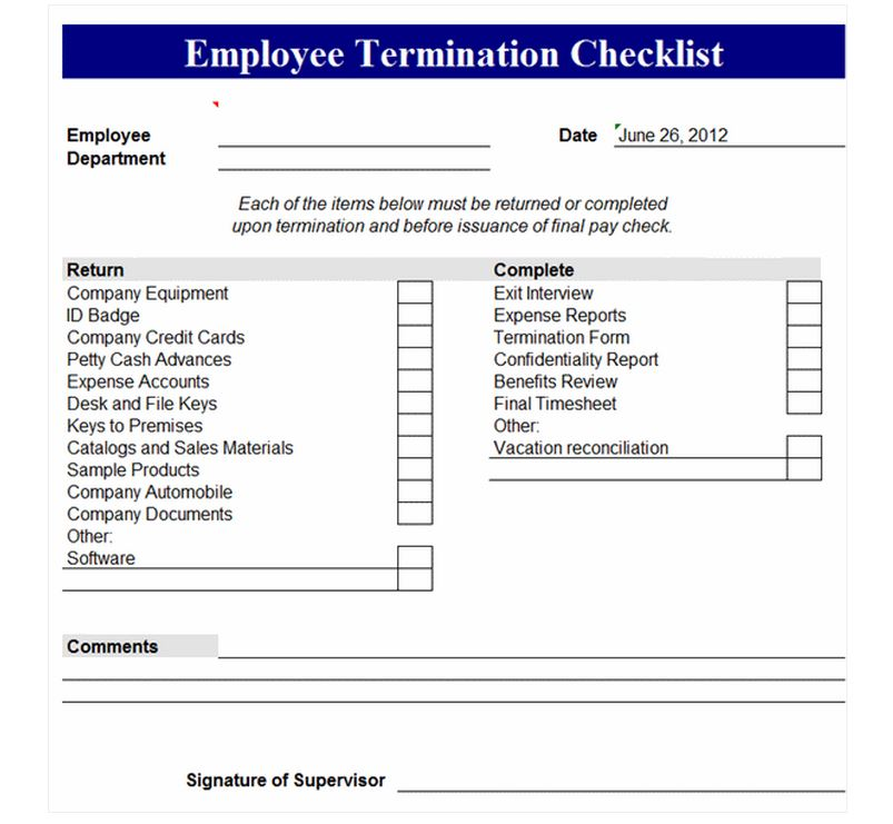 employee termination checklist employee termination form. Black Bedroom Furniture Sets. Home Design Ideas