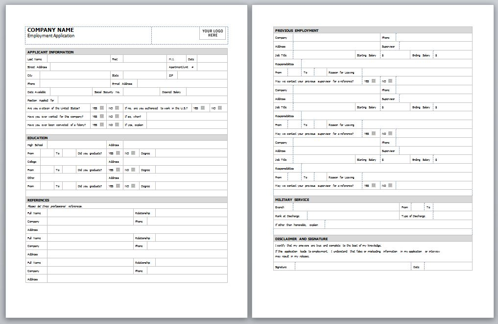 Employment-Application-Template Job Application Form Template Excel Pdqb on