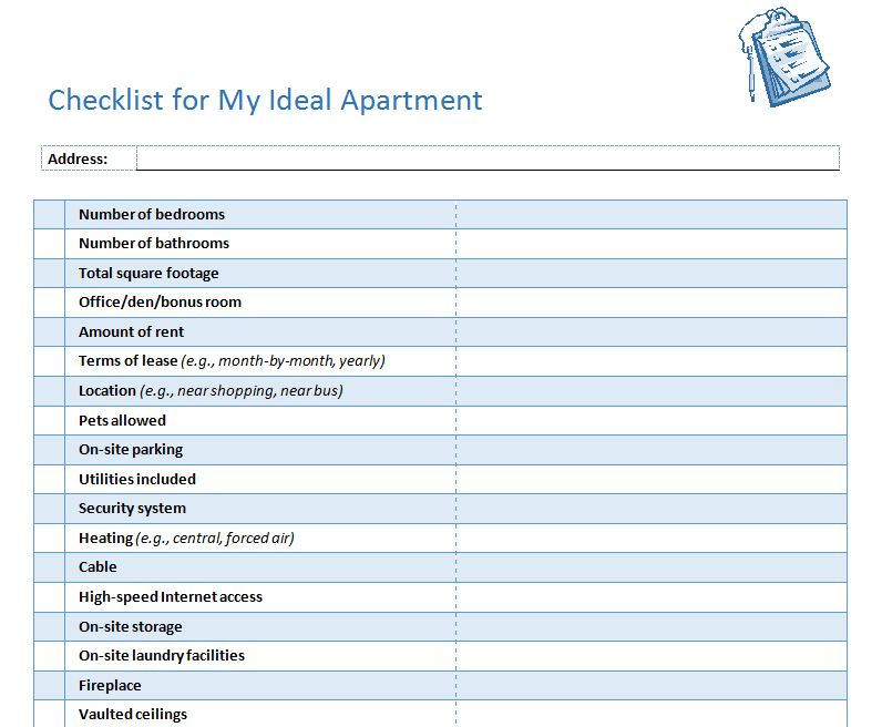 First Apartment Checklist  New Apartment Checklist