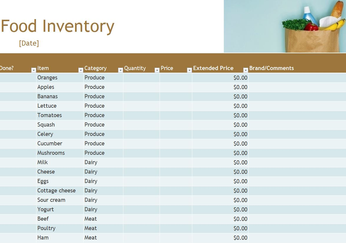 Food Inventory | Food Inventory Spreadsheet
