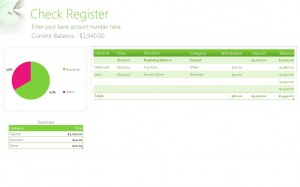 Free Check Register Template from Microsoft