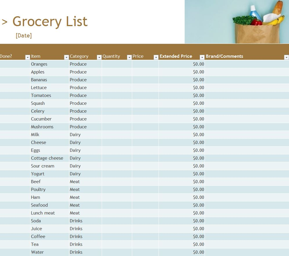 Grocery Inventory List | Grocery Inventory List Template