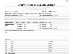 Free Health History Checklist