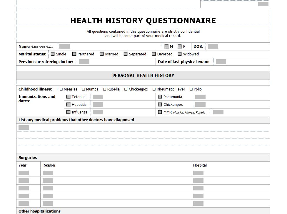 Health history checklist health history questionanaire for Health questionnaire form template