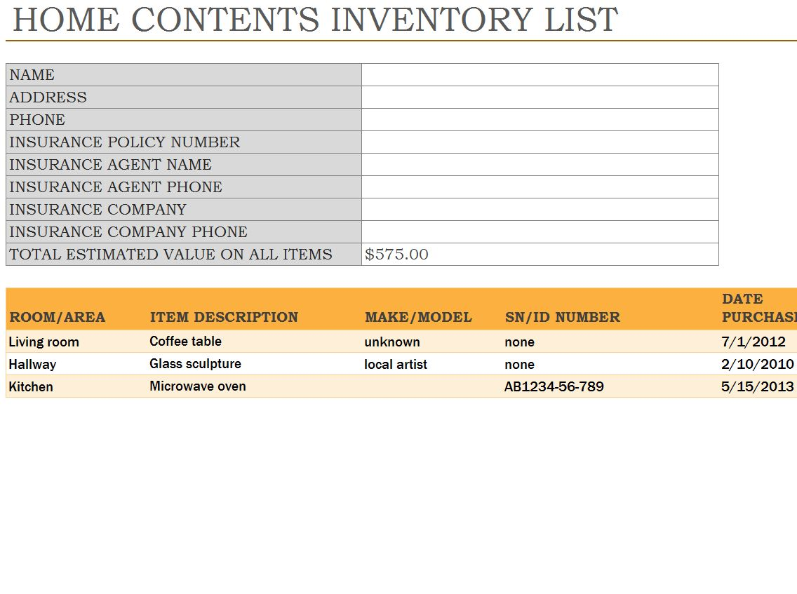 home inventory spreadsheet home inventory template