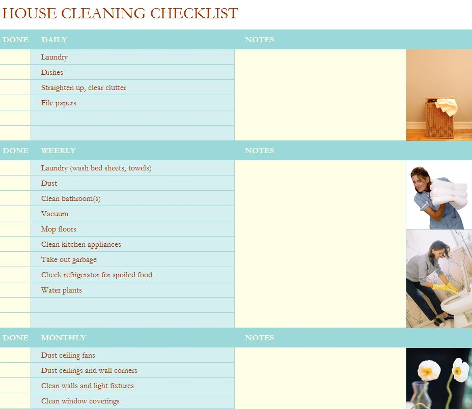 House cleaning checklist template for House cleaning templates free