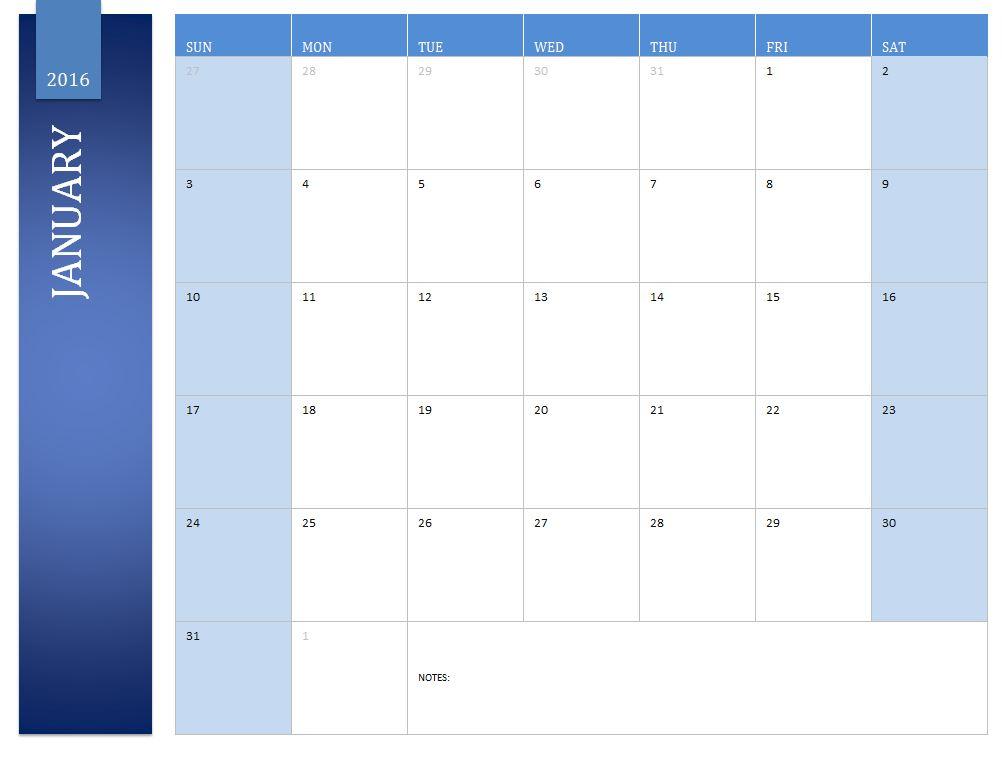 January 2016 Calendar | 2016 January Calendar