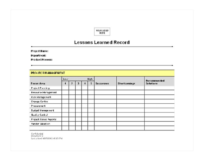 Lessons Learned Checklist | Lessons Learned Template