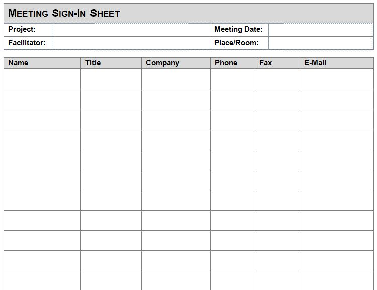 Meeting Sign In Sheet Template | Meeting Sign In Sheet
