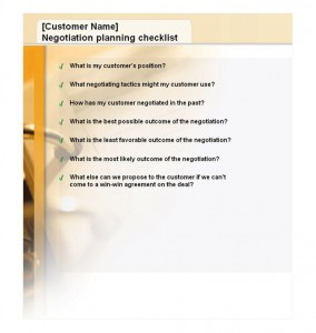 Negotiation Planning Checklist