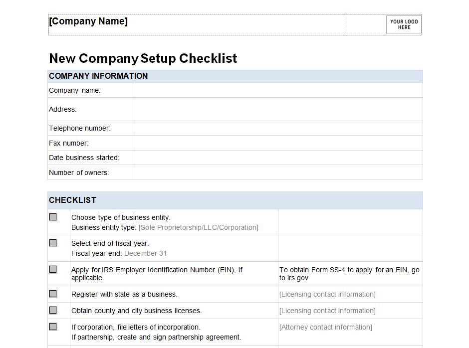 new business checklist template