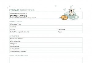 printable pet sitter checklist
