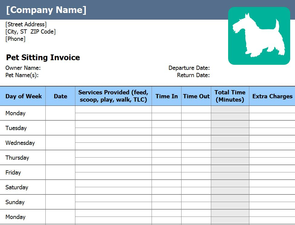 Pet Sitting Invoice | Pet Sitting Invoice Template