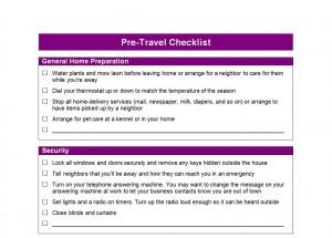 Pre Travel Checklist