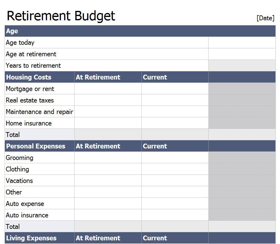 Retirement budget worksheet printable