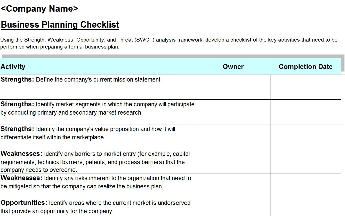 swot analysis checklist