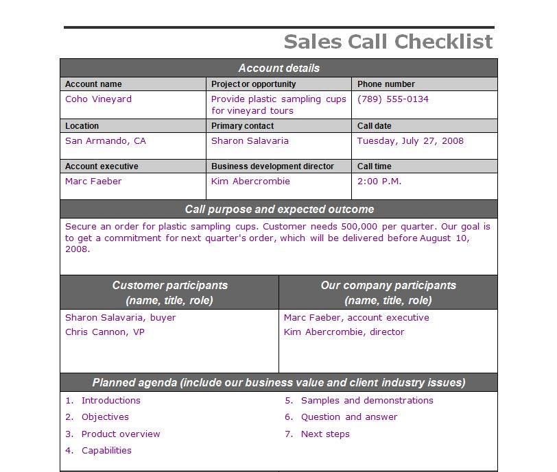 sales call checklist sales call template. Black Bedroom Furniture Sets. Home Design Ideas