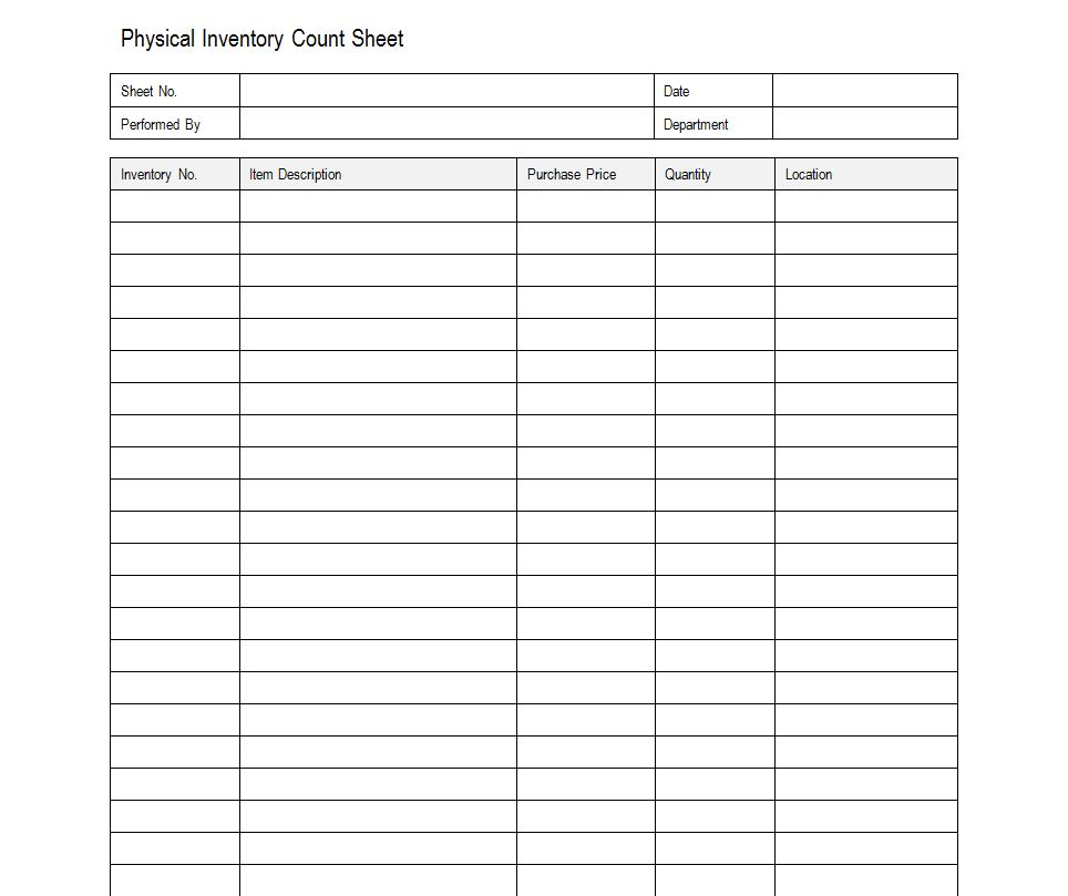Sample Inventory Sheet  Sample Inventory Sheets