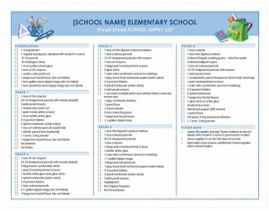 Free School Supplies Checklist