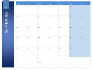 September 2017 Calendar Free