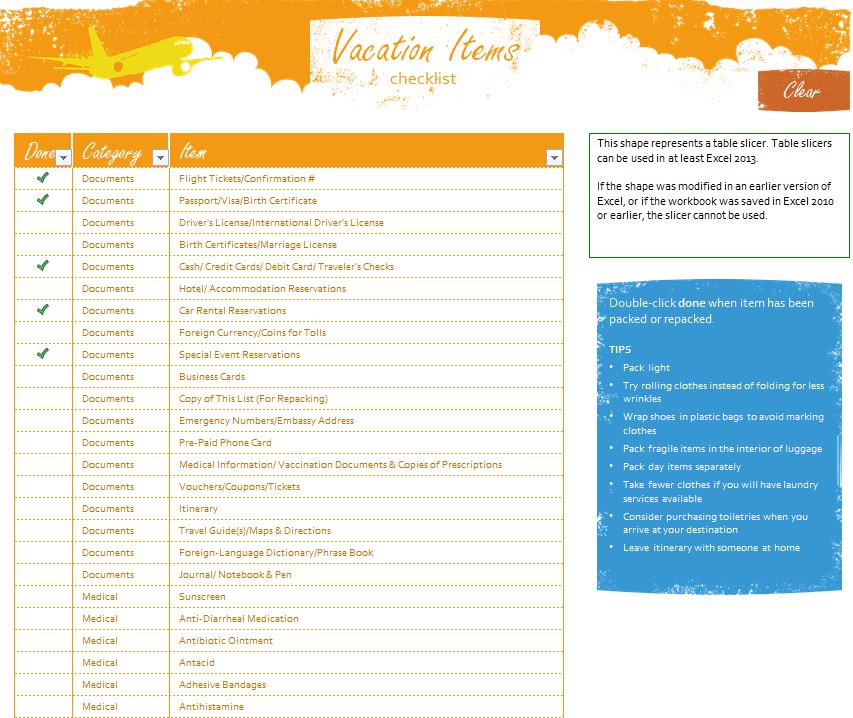 Vacation Travel Checklist  Vacation Checklist Printable
