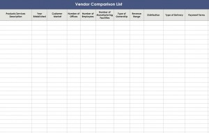 Free Vendor Comparison List